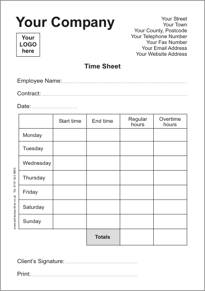 Time Sheets | Printwise Online News